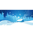 winter night landscape countryside snowy house vector image