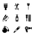 woman hairdresser tools icons set simple style vector image