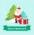 Santa Claus with gift Merry Christmas New Year vector image