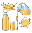splashing and pouring orange in bottle glass jug vector image