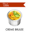sweet creme brulee from french cuisine in special vector image