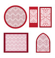 window and door with asian pattern vector image