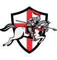 English Knight Riding Horse England Flag Retro vector image vector image