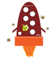 Cute starting rocket ship isolated on white vector image