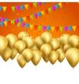 festive card golden balloons and confetti vector image