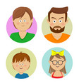 happy family faces flat avatars vector image