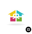 House as a present logo Colorful gift box with vector image