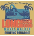 Long Beach surfing t-shirt graphic design vector image