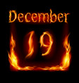 Nineteenth december in calendar of fire icon on vector image