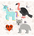 Zoo alphabet with funny animals U v w letters vector image