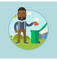 Man throwing away trash vector image