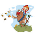 bear carrying girl cartoon vector image vector image