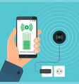 the process of wireless charging a smartphone vector image
