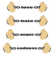 Love hate anger sadness signs vector image