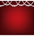 Pearl necklace on red vector image vector image