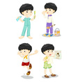 Boy in four poses vector image