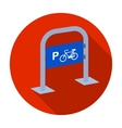 Bicycle parking icon in flat style isolated on vector image