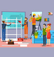 construction workers flat composition poster vector image