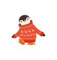 funny cute penguin toon character in a red vector image