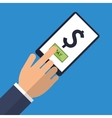 hand touch mobile pay money icon vector image