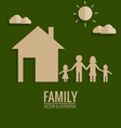 Paper cut of family vector image