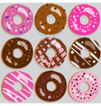 Set of 9 assorted doughnut icons with toppings vector image