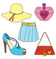 Set of shoes bag skirt hat and perfume bottle vector image