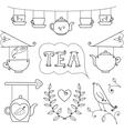 Tea card Set of elements for design vector image