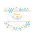 xmas card snow flake frame white background vector image