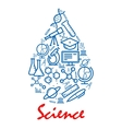 Science emblem in shape of water drop with icons vector image vector image