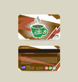 front and back coffee voucher of member card vector image