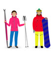 winter sport people man with a snowboard and vector image