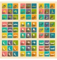 Set of flat icons with long shadow Australian vector image