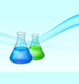 abstract background with lab flasks vector image