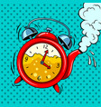 alarm clock in teapot with tea pop art vector image