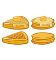 breakfast set with pancakes and waffles vector image