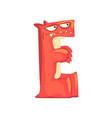 cartoon character monster letter e vector image