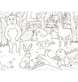 Forest cartoon animals coloring book vector image