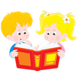 girl and boy read a book vector image