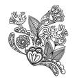 hand draw black flower and bird design vector image