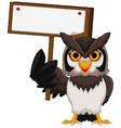 owl cartoon holding blank board vector image