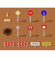 Pixel Art Road Sign Icon set brown road vector image