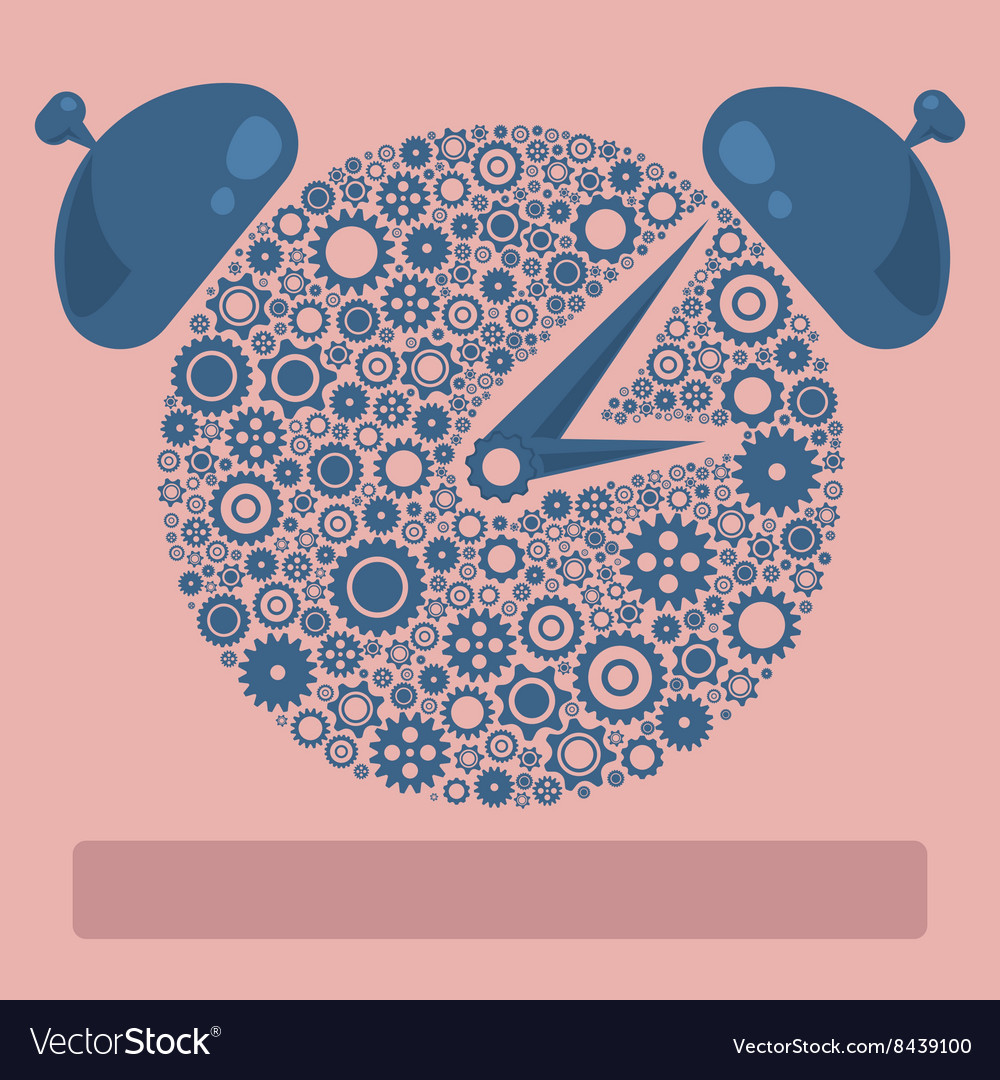 Gears icon form the shape of clock flat design vector