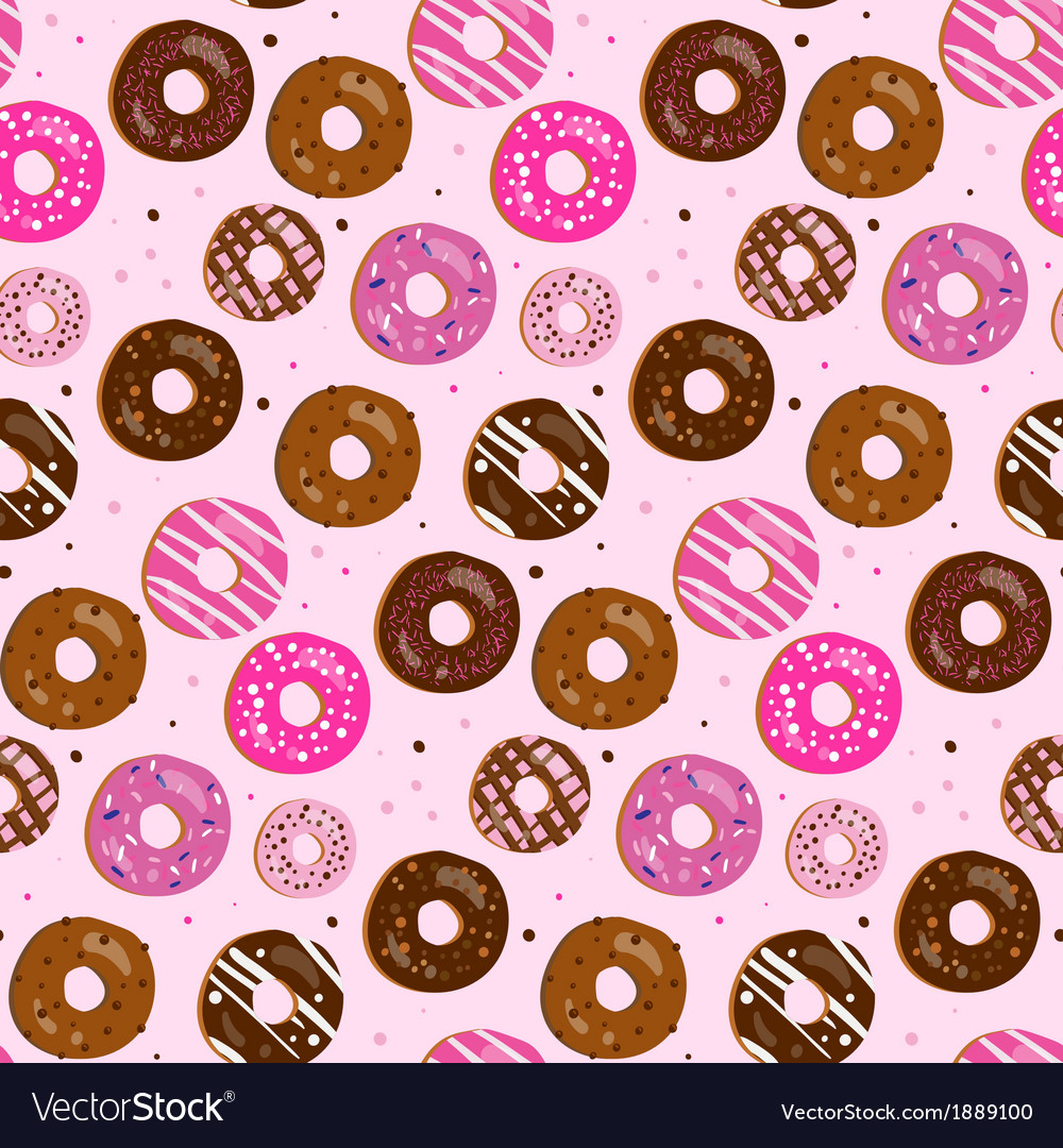 Seamless pattern of assorted donut vector
