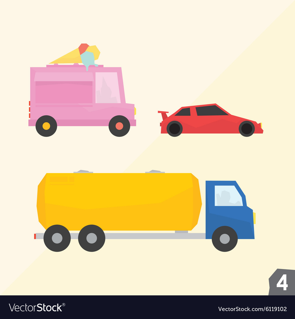 Ice cream van sport car gasoline truck vector