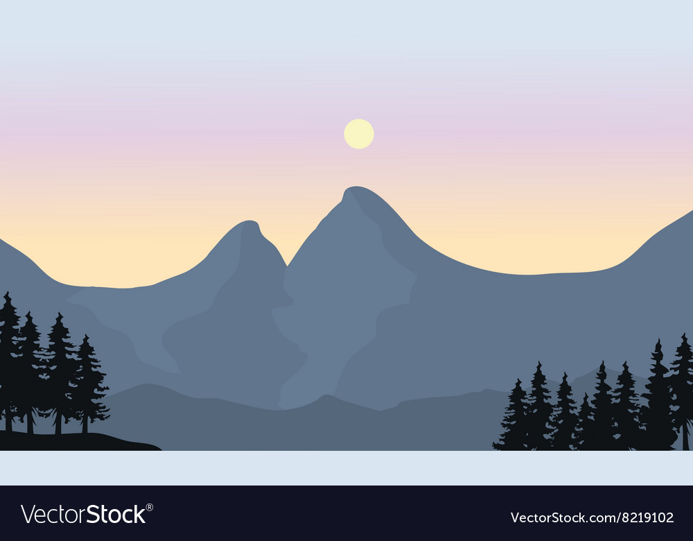 Silhouette of mountain and sun vector