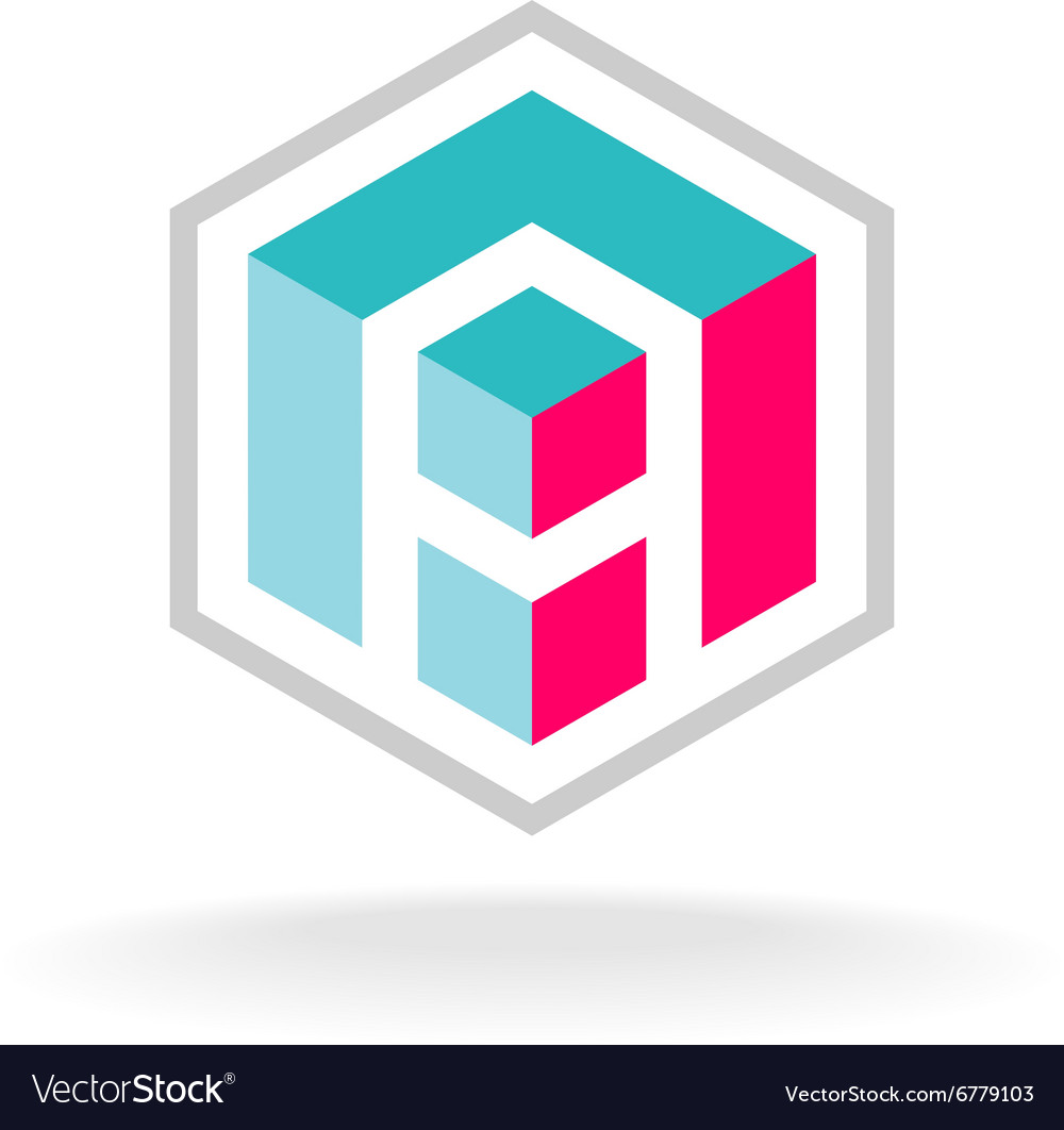 Letter a 3d cube construction hex logo vector