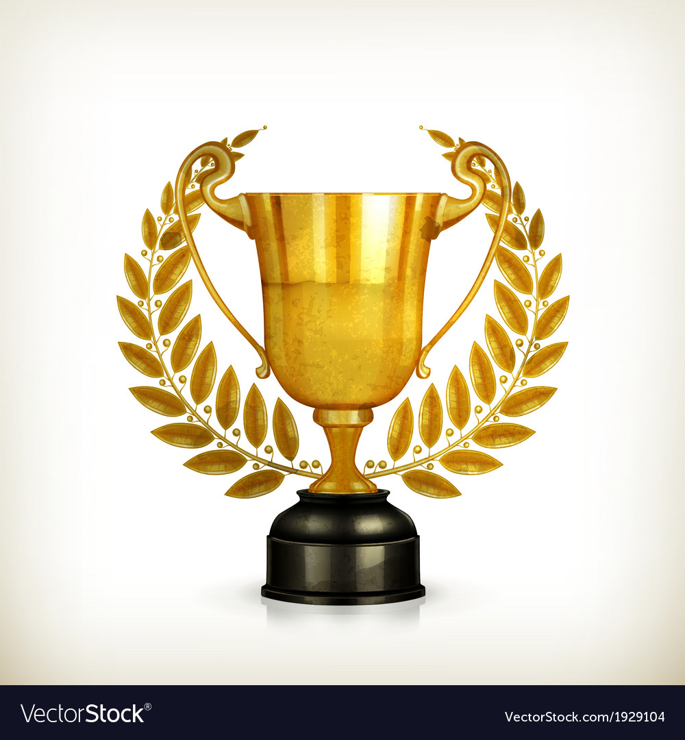 Golden trophy oldstyle isolated vector