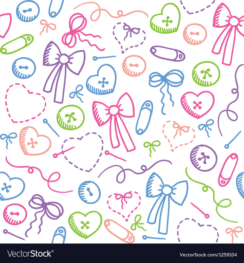 Pattern with sewing elements vector