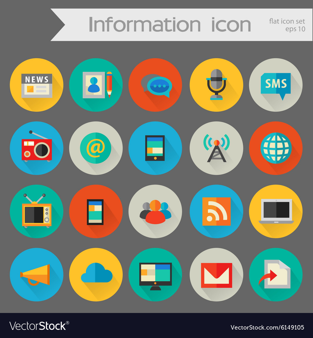 Detailed information icon set vector